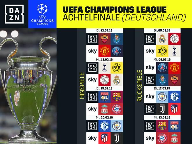 Der Fahrplan von DAZN und Sky für die K.o.-Phase der Champions League