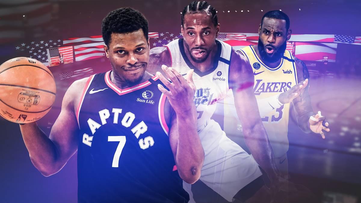 Kyle Lowry (l.) geht mit den Raptors als Titelverteidiger in die Playoffs 2020