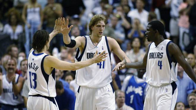 Steve Nash, Dirk Nowitzki, and Michael Finley