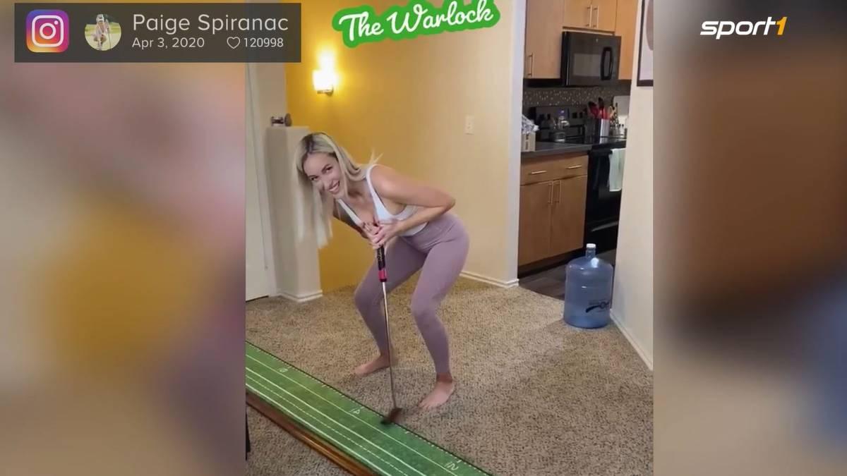 Quarantäne macht kreativ: Golf-Schönheit Paige Spiranac nutzt die Zeit, um sich neue Techniken zum Putten zu überlegen.