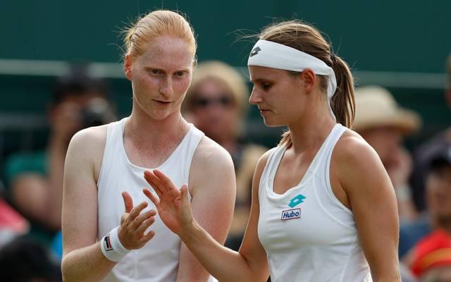 TENNIS-GBR-WIMBLEDON In Wimbledon standen van Uytvanck (l.) und Minnen im Doppel noch auf einer Seite auf dem Tennisplatz