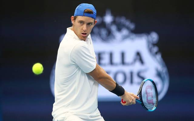 BRISBANE, AUSTRALIA - JANUARY 04: Nicolas Jarry of Chile plays a shot against Benoit Paire of France during day two of the 2020 ATP Cup Group Stage at Pat Rafter Arena on January 04, 2020 in Brisbane, Australia. (Photo by Jono Searle/Getty Images)