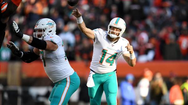 CLEVELAND, OHIO - NOVEMBER 24: Quarterback Ryan Fitzpatrick #14 of the Miami Dolphins passes during the second half against the Cleveland Browns at FirstEnergy Stadium on November 24, 2019 in Cleveland, Ohio. The Browns defeated the Dolphins 41-24. (Photo by Jason Miller/Getty Images)