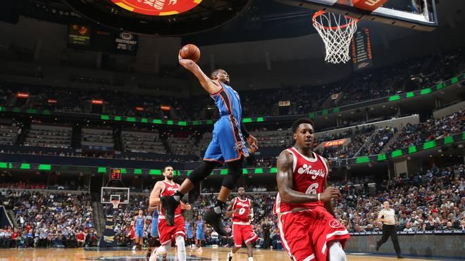 Russell Westbrook von Oklahoma City Thunder gegen Memphis Grizzlies