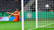 Leverkusen's Finnish goalkeeper Lukas Hradecky concedes the opening goal during the German Cup (DFB Pokal) final football match Bayer 04 Leverkusen v FC Bayern Munich at the Olympic Stadium in Berlin on July 4, 2020. (Photo by John MACDOUGALL / various sources / AFP) / DFB REGULATIONS PROHIBIT ANY USE OF PHOTOGRAPHS AS IMAGE SEQUENCES AND QUASI-VIDEO. (Photo by JOHN MACDOUGALL/POOL/AFP via Getty Images)