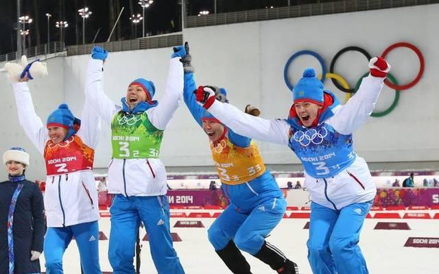 Yana Romanova, Olga Zaitseva, Yekaterina Shumilova und Olga Vilukhina (v.l.) gewannen 2014 in Sotschi Staffel-Silber