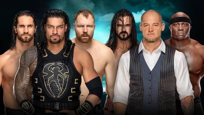 The Shield (l.) trifft bei Fastlane auf Drew McIntyre, Baron Corbin und Bobby Lashley (v.l.)