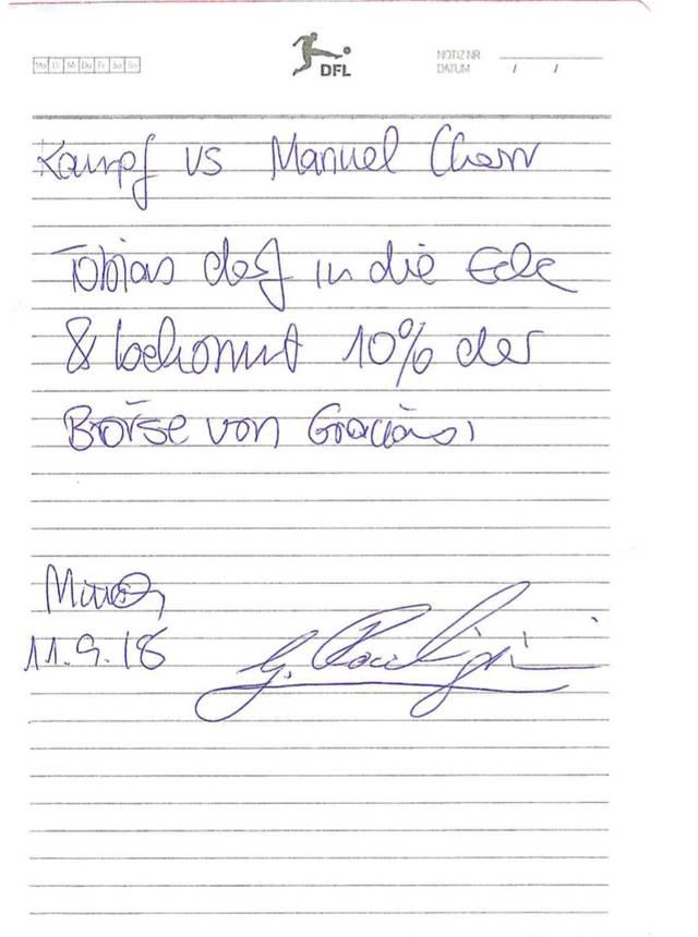 Der Vertrag, den Graciano Rocchigiani mit Tobias Drews aufsetzte