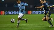 Manchester City's Brazilian striker Gabriel Jesus (L) vies for the ball with Dinamo Zagreb's Bosnian midfielder Amer Gojak (R) during the UEFA Champions League Group C football match between GNK Dinamo Zagreb and Manchester City FC at the Maksimir Stadium in Zagreb on December 11, 2019. (Photo by Denis LOVROVIC / AFP) (Photo by DENIS LOVROVIC/AFP via Getty Images)