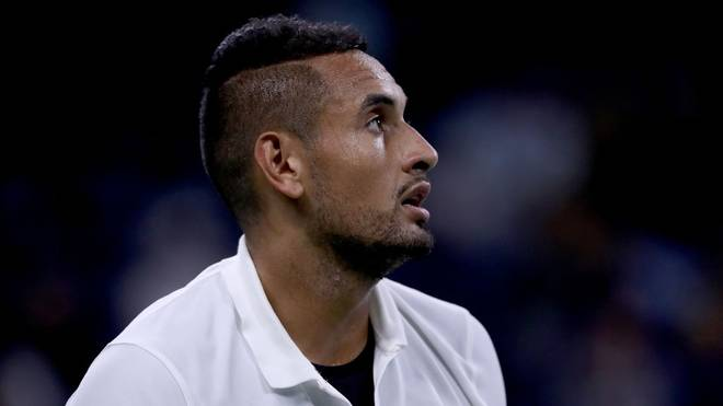 NEW YORK, NEW YORK - AUGUST 27: Nick Kyrgios of Australia waits on the baseline during his Men's Singles first round match against Steve Johnson of the United States on day two of the 2019 US Open at the USTA Billie Jean King National Tennis Center on August 27, 2019 in the Flushing neighborhood of the Queens borough of New York City. (Photo by Matthew Stockman/Getty Images)