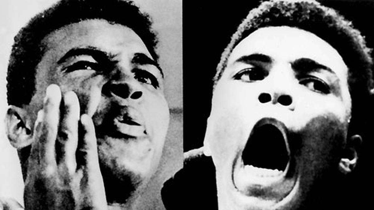 """Schon im Vorfeld klopft Ali munter Sprüche in Richtung Liston: """"Der Mann kann nicht sprechen. Der Mann kann nicht kämpfen. Der Mann braucht Sprachunterricht. Der Mann braucht Boxunterricht. Und wenn er gegen mich kämpft, braucht er Fallunterricht"""""""