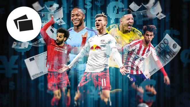 Mohammed Salah, Raheem Sterling, Jadon Sancho, Timo Werner und Joao Felix (v.l.): SPORT1 zeigt die TOP 20 der wertvollsten Fußballer der Welt