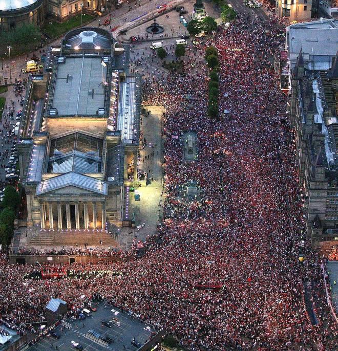 Der Champions-League-Titel 2005 wurde in Liverpool mit einer riesigen Party gefeiert