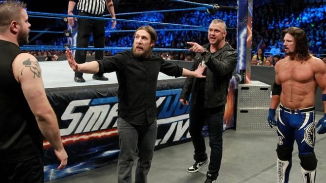 Der Streit zwishen Kevin Owens, Daniel Bryan, Shane McMahon und AJ Styles (v.l.) findet beim Royal Rumble seinen Höhepunkt