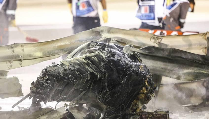 Beim Betrachten dieses Wrack-Teils des Haas-Boliden wird schnell klar, was für ein Wunder es ist, dass Romain Grosjean seinen Unfall ohne größere Verletzungen überstanden hat