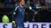 HAMBURG, GERMANY - SEPTEMBER 06: Manuel Neuer of Germany gives his team instructions during the UEFA Euro 2020 qualifier match between Germany and Netherlands at Volksparkstadion on September 06, 2019 in Hamburg, Germany. (Photo by Alex Grimm/Bongarts/Getty Images)