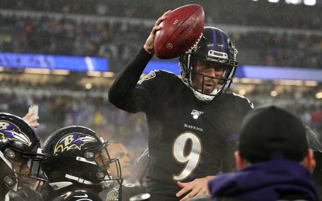 Matchwinner Justin Tucker von den Baltimore Ravens wird gefeiert
