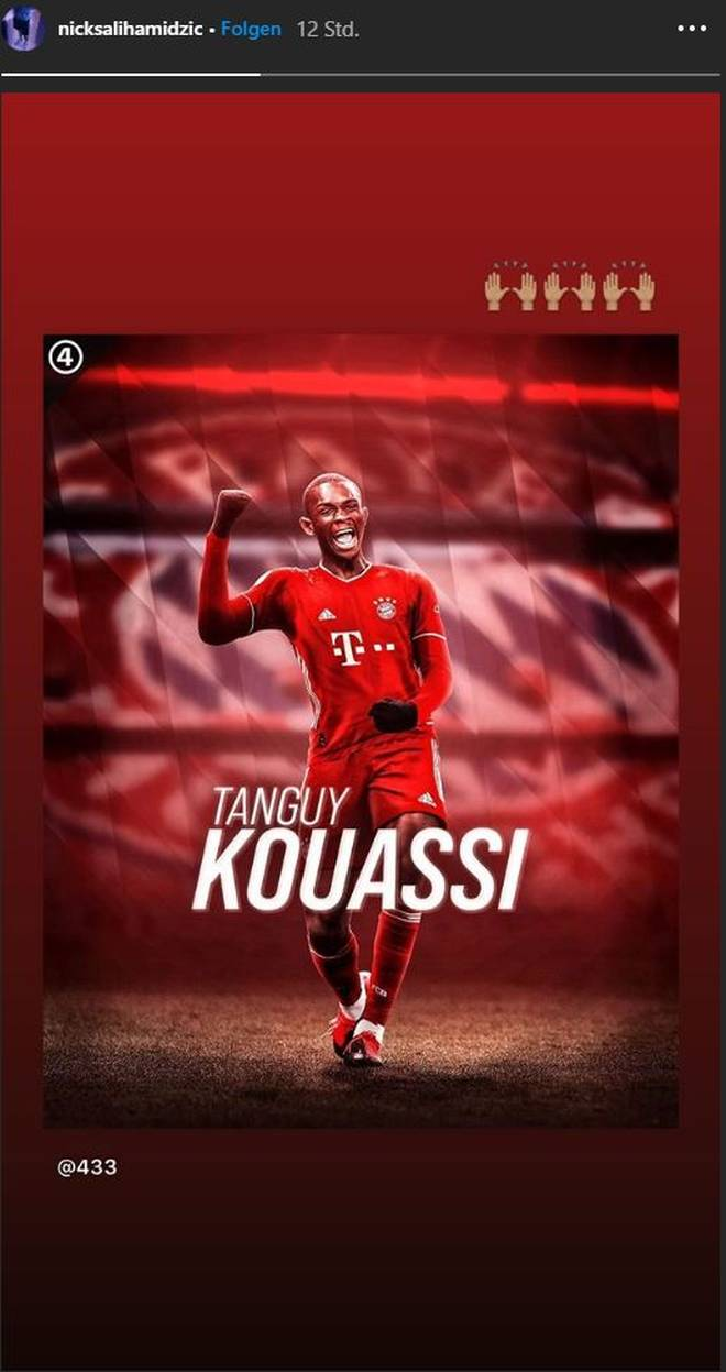 Nick Salihamidzic hat dieses bearbeitete Bild von Tanguy Kouassi im Trikot des FC Bayern auf Instagram geteilt