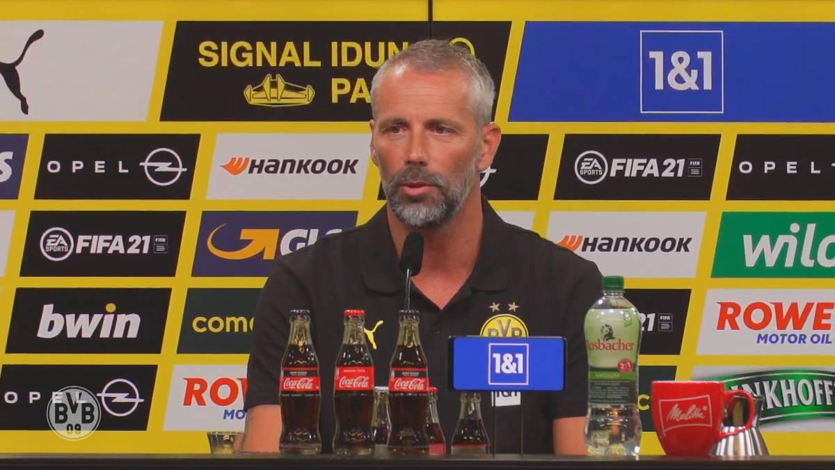 Marco Rose lässt bei seiner Antritts-PK in Dortmund aufhorchen. Der neue BVB-Trainer will um Titel mitspielen und einen attraktiven Fußball anbieten. Auf Erling Haaland hält er eine Lobrede.
