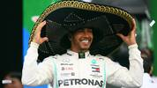 MEXICO CITY, MEXICO - OCTOBER 27: Race winner Lewis Hamilton of Great Britain and Mercedes GP celebrates on the podium during the F1 Grand Prix of Mexico at Autodromo Hermanos Rodriguez on October 27, 2019 in Mexico City, Mexico. (Photo by Clive Mason/Getty Images)