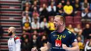 Sweden's Jim Gottfridsson celebrates after scoring during the Men's European Handball Championship main round day 4 Group II match Hungary v Sweden in Malmo, Sweden on January 21, 2020. (Photo by Jonathan NACKSTRAND / AFP) (Photo by JONATHAN NACKSTRAND/AFP via Getty Images)