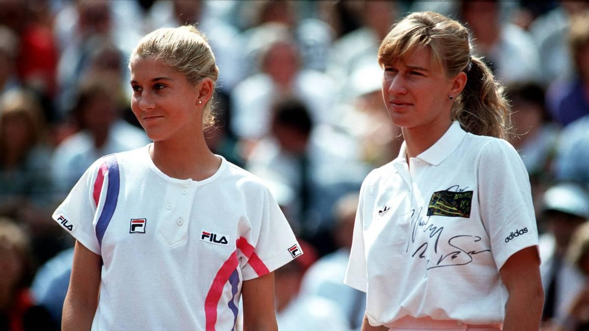 Monica Seles und Steffi Graf bei einem frühen Duell 1990