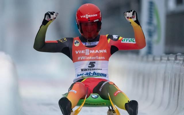 Julia Taubitz gewann den Weltcup in Sigulda