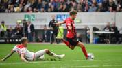 Freiburg's German forward Luca Waldschmidt scores the 1-2 goal during the German first division Bundesliga football match Fortuna Dusseldorf v SC Freiburg in Duesseldorf, western Germany on September 29, 2019. (Photo by Ina FASSBENDER / AFP) / DFL REGULATIONS PROHIBIT ANY USE OF PHOTOGRAPHS AS IMAGE SEQUENCES AND/OR QUASI-VIDEO        (Photo credit should read INA FASSBENDER/AFP/Getty Images)