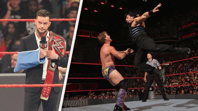 Finn Balor (l.) muss den Titel abtreten, Roman Reigns (r., gegen Chris Jericho) könnte ihn beerben