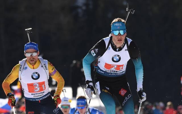 In Oberhof ärgerte sich Erik Lesser (l.) über Émilien Jacquelin