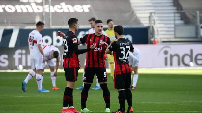 André Silva (l.) und Luka Jovic spielten gegen Stuttgart beide von Beginn an
