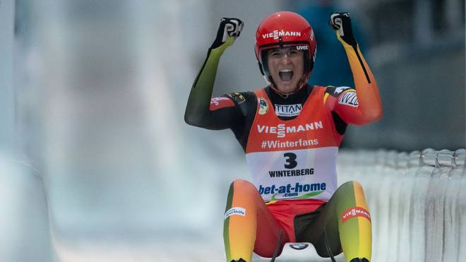 WINTERBERG, GERMANY - JANUARY 26: Natalie Geisenberger of Germany celebrates after the final run of the Luge World Championships Women Race at Veltins Eis-Arena on January 26, 2019 in Winterberg, Germany. (Photo by Lars Baron/Bongarts/Getty Images)