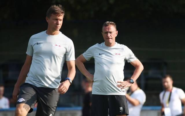 Jesse Marsch (l.) agierte bei RB Leipzig bereits als Co-Trainer von Ralf Rangnick