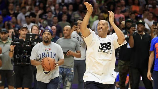 Ice Cube (l.) und LaVar Ball beim Vierpunkt-Wettbewerb