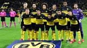 (Back row, From L), Dortmund's Norwegian forward Erling Braut Haaland, Dortmund's German defender Mats Hummels, Dortmund's Belgian midfielder Axel Witsel, Dortmund's Polish defender Lukasz Piszczek, Dortmund's French defender Dan-Axel Zagadou and Dortmund's Swiss goalkeeper Roman Buerki (Front row, From L) Dortmund's Belgian forward Thorgan Hazard, Dortmund's Moroccan defender Achraf Hakimi, Dortmund's Portuguese defender Raphael Guerreiro, Dortmund's German midfielder Emre Can and Dortmund's English midfielder Jadon Sancho pose for the team photo prior to the UEFA Champions League Last 16, first-leg football match BVB Borussia Dortmund v Paris Saint-Germain (PSG) in Dortmund, western Germany, on February 18, 2020. (Photo by Tobias SCHWARZ / AFP) (Photo by TOBIAS SCHWARZ/AFP via Getty Images)