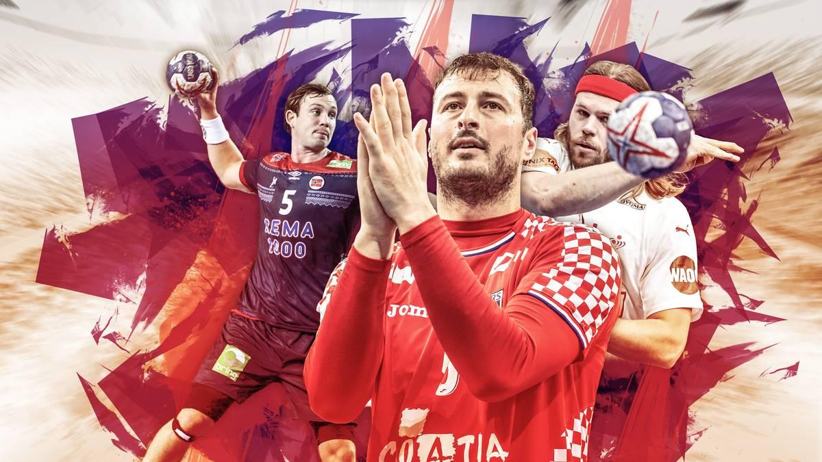 Sander Sagosen, Domagoj Duvnjak und Mikkel Hansen (v.l.) gehören zu den größten Stars der Handball-EM 2020