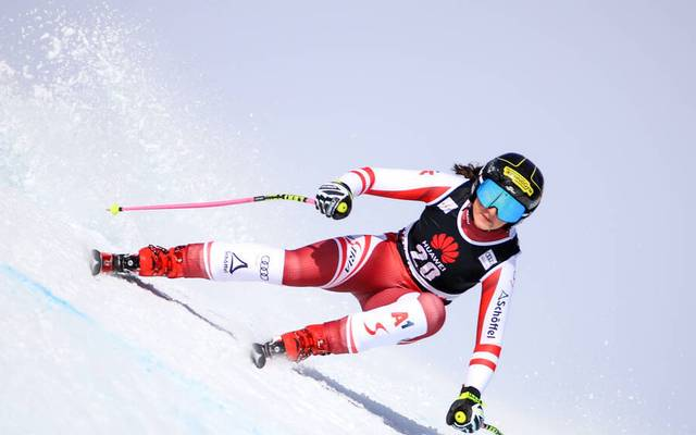 Stephanie Venier aus Österreich sorgte in Crans-Montana nach einem Sturz für bange Momente