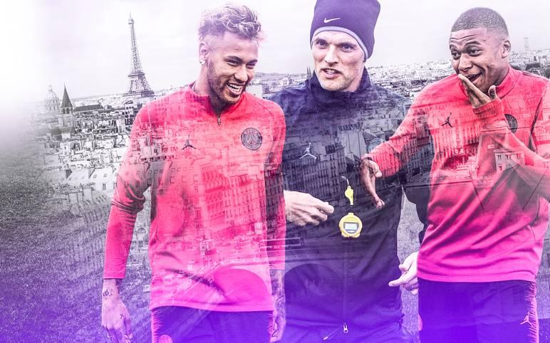 Thomas Tuchel (M.) hat Paris im Sturm erobert. Mit seinem Star-Ensemble um Neymar (l.) und Kylian Mbappe hat er nicht nur einen Rekordstart in der Liga hingelegt