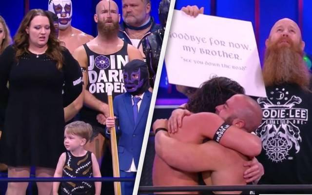 Bei AEW Dynamite erschien auch Brodie Lees Familie und Ex-Partner Erick Rowan (r.)