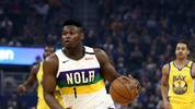 SAN FRANCISCO, CALIFORNIA - FEBRUARY 23:  Zion Williamson #1 of the New Orleans Pelicans in action against the Golden State Warriors at Chase Center on February 23, 2020 in San Francisco, California. NOTE TO USER: User expressly acknowledges and agrees that, by downloading and or using this photograph, User is consenting to the terms and conditions of the Getty Images License Agreement.  (Photo by Ezra Shaw/Getty Images)