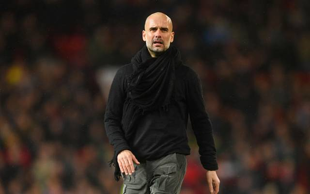 MANCHESTER, ENGLAND - MARCH 08: Manchester City manager Pep Guardiola looks on after during the Premier League match between Manchester United and Manchester City at Old Trafford on March 08, 2020 in Manchester, United Kingdom. (Photo by Michael Regan/Getty Images)