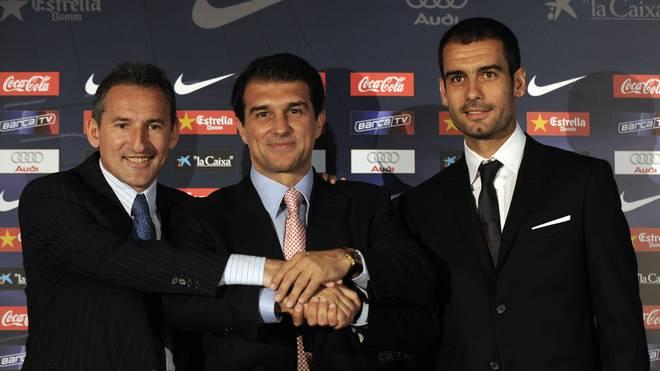 Joan Laporta (M.) machte Pep Guardiola 2008 zum Barca-Coach
