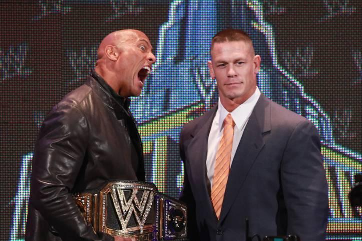 """Dwayne """"The Rock"""" Johnson (l.) ist vom WWE- zum Hollywood-Megastar geworden, nicht nur John Cena ist ihm gefolgt. SPORT1 zeigt die Wrestler, die Filmstars wurden."""