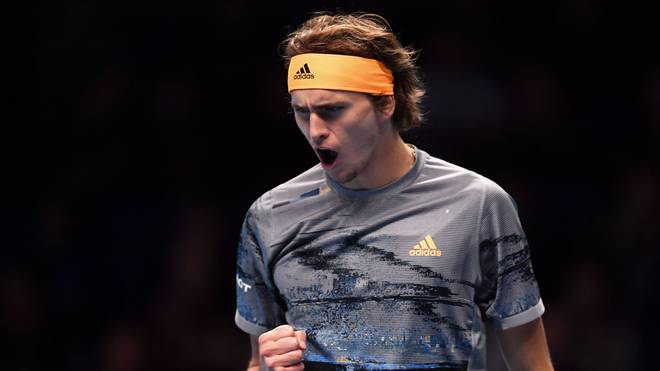 LONDON, ENGLAND - NOVEMBER 15: Alexander Zverev of Germany celebrates in his singles match against Daniil Medvedev of Russia during Day Six of the Nitto ATP World Tour Finals at The O2 Arena on November 15, 2019 in London, England. (Photo by Justin Setterfield/Getty Images)