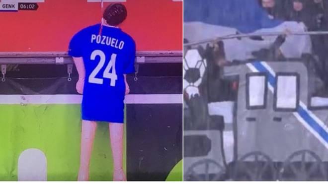 v, Fans des KRC Genk erhängen eine Puppe von ihrem Ex-Kapitän Alejandro Pozuelo im Stadion
