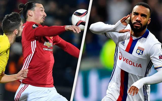 Zlatan Ibrahimovic von Manchester United und Alexandre Lacazette von Olympique Lyon im Achtelfinale der UEFA Europa League