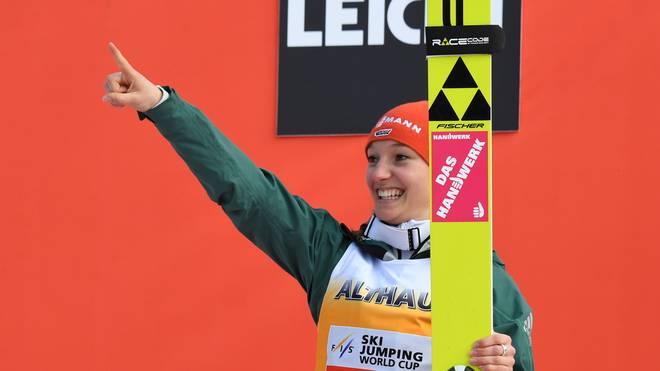 SKI-JUMPING-WORLD-WOMEN Katharina Althaus holte bereits Olympisches Silber 2018 und Gold im Team bei der Olympischen Jugend-Winterspiewen