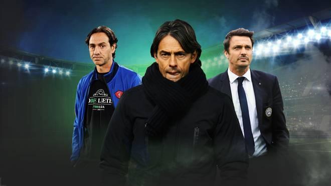 Alessandro Nesta, Filippo Inzaghi und Massimo Oddo (v.l.) stehen künftig in der Serie B am Rand