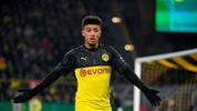 Dortmund's English midfielder Jadon Sancho reacts during the German Cup (DFB Pokal) second round football match BVB Borussia Dortmund v Borussia Moenchenglanbach in Dortmund, western Germany on October 30, 2019. (Photo by INA FASSBENDER / AFP) / DFB REGULATIONS PROHIBIT ANY USE OF PHOTOGRAPHS AS IMAGE SEQUENCES AND QUASI-VIDEO. (Photo by INA FASSBENDER/AFP via Getty Images)