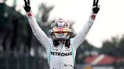 MEXICO CITY, MEXICO - OCTOBER 27: Race winner Lewis Hamilton of Great Britain and Mercedes GP celebrates in parc ferme during the F1 Grand Prix of Mexico at Autodromo Hermanos Rodriguez on October 27, 2019 in Mexico City, Mexico. (Photo by Mark Thompson/Getty Images)